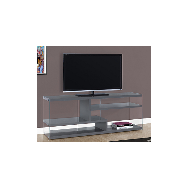 GLOSSY GREY TV STAND WITH TEMPERED GLASS