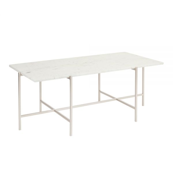 Ida Silver Coffee Table with White Marble