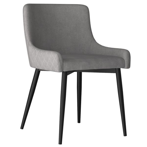 Bianca Side Chair in Grey with Black Leg