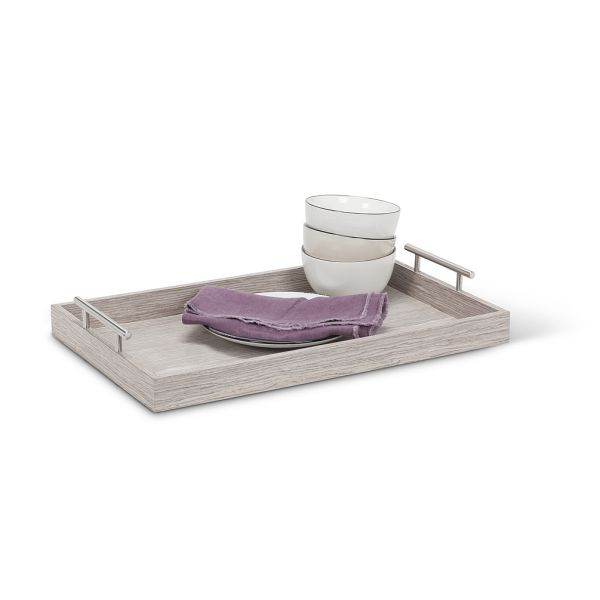 Rectangle Tray with Handles Small Light Grey