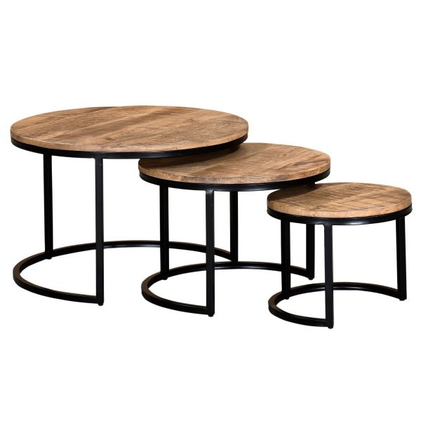 Darsh 3Pc Coffee Table set in Washed Grey