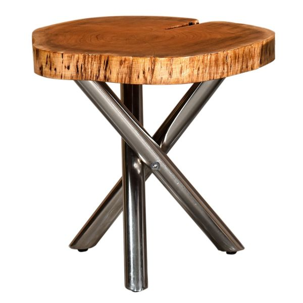 Shlok Accent Table in Natural/Chrome Legs