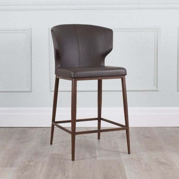 Cabo Leather Counter Stool with Walnut Base