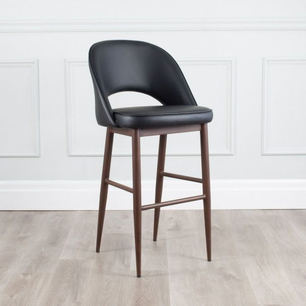 Coco Leather Counter Stool with Walnut Base