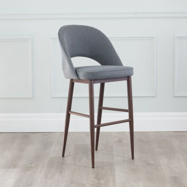 Coco Fabric Counter Stool with Walnut Base