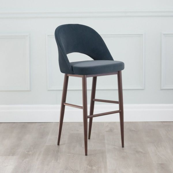 Coco Velvet Counter Stool with Walnut Base