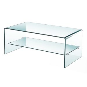 Bent Glass Coffee Table With Shelf 43