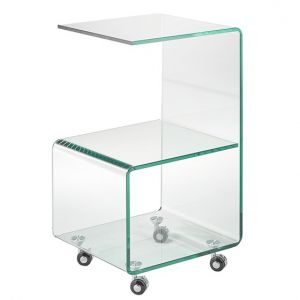 Bend Glass Side Cart W/ Castors
