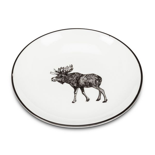 Round Pin Dish with Moose