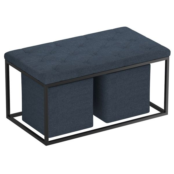 Knox 3Pc Rectangular Cocktail Ottoman in Grey-Blue