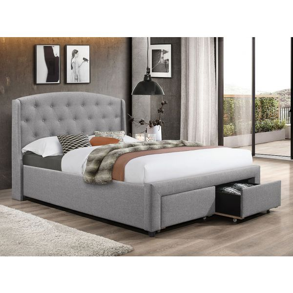Grey Fabric Bed With 2 Front Pull Out Drawers IF-5290