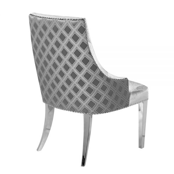 Oscar Grey Two Tone Velvet Steel Chair