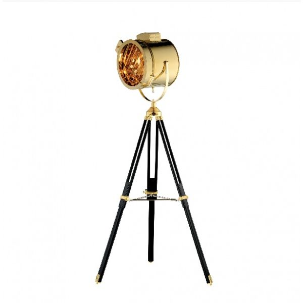 Gold Stainless Steel Floor Lamp With Adjustable Legs
