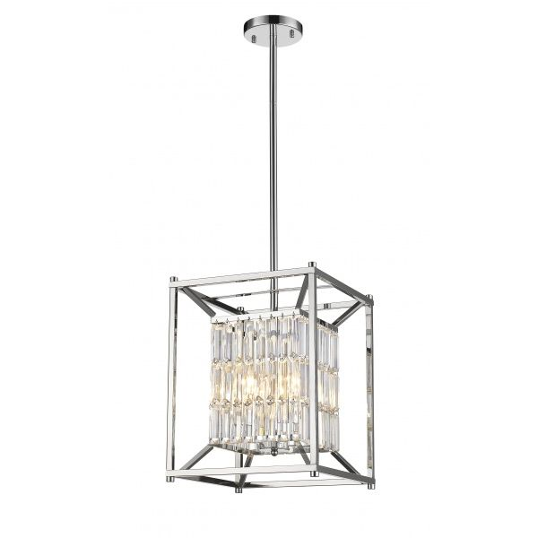 Chrome Light Fixture With Clear Crystal Drapping