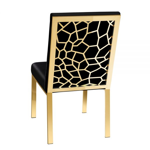 Wellington Black Velvet Gold Dining Chair