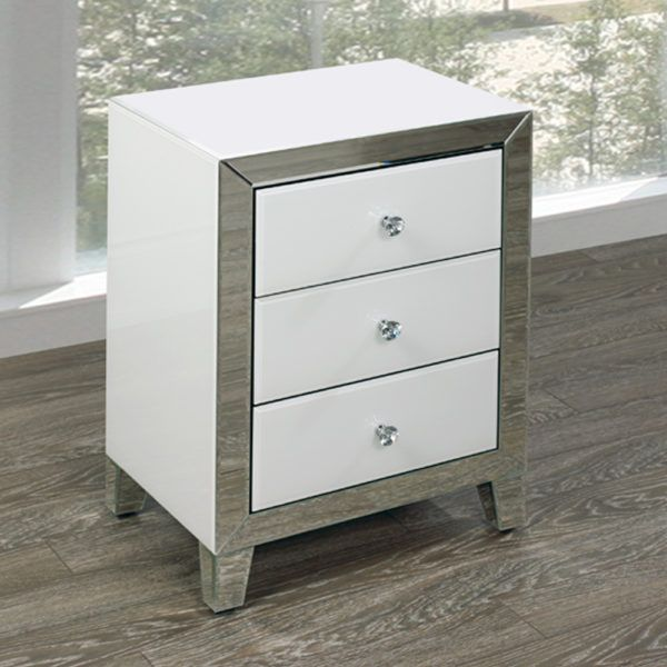 White Mirror Side Table Small