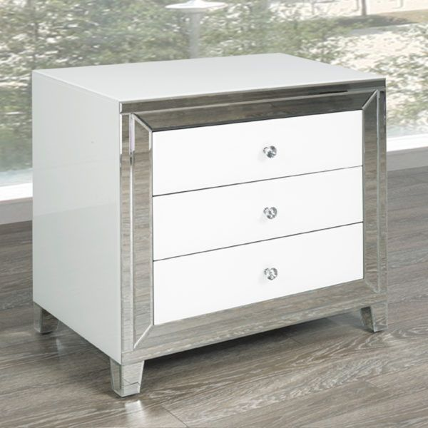 White Mirror Side Table - Large